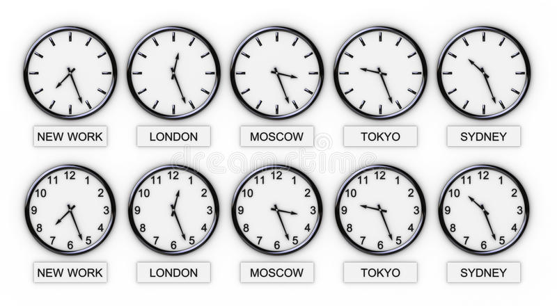 World Clocks(Time). Five World Clocks on white background (World Time stock illustration