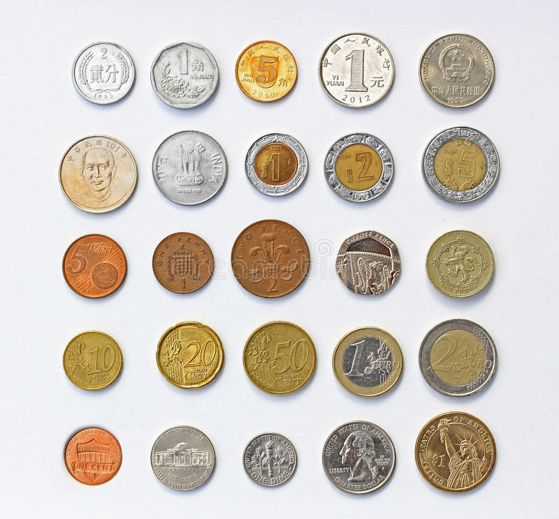 World Coins. Assorted world coins, Chinese RMB, Taiwan Yuan, India Rupee, Mexican Peso, British Pound, Euro, and US Dollar stock photo