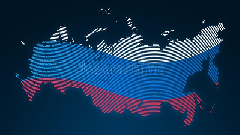 World communication - Russia - country flag - fingerprint dotted on black background stock image