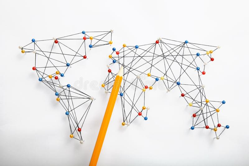 World community and network. Business infrastructure stock image