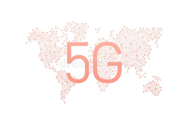 World community and network. 5G network Internet mobile wireless business concept royalty free illustration