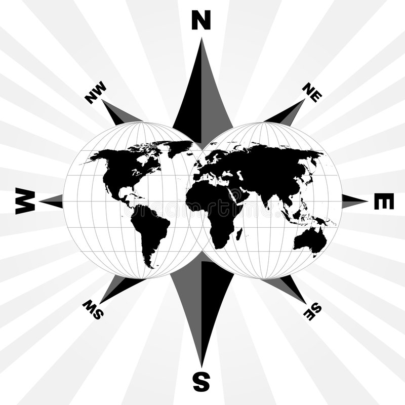 World and compass stock images