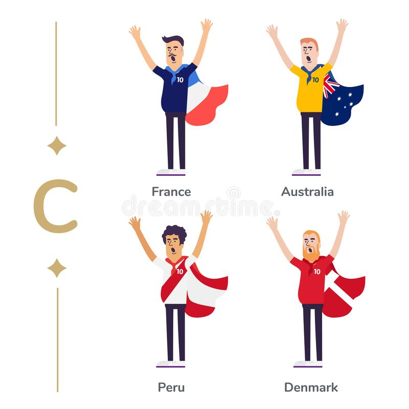 World competition. Soccer fans support national teams. Football fan with flag. France, Australia, Peru, Denmark. Sport royalty free illustration