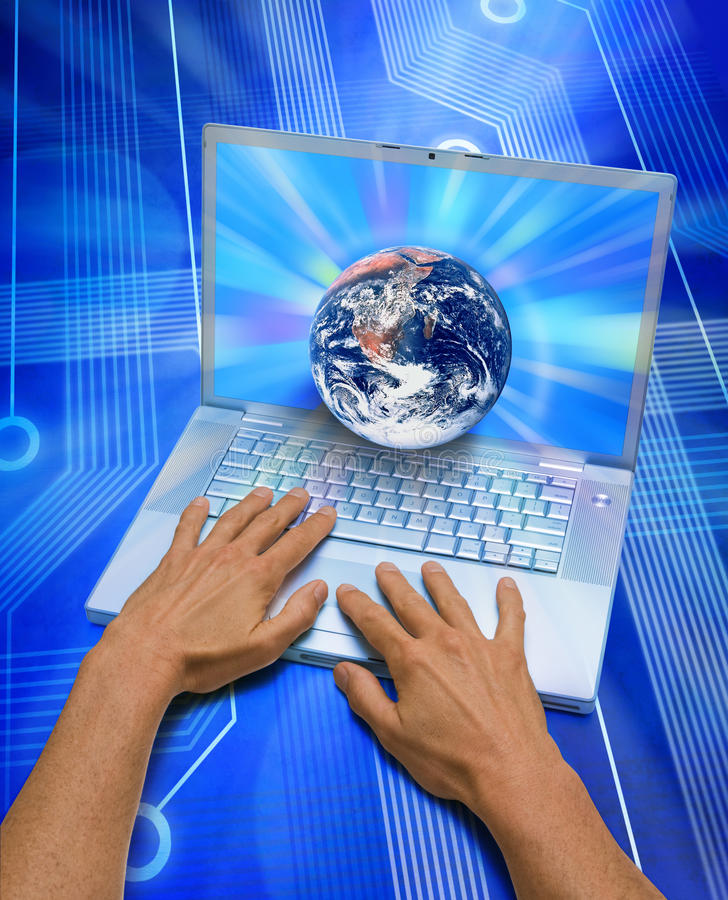 World Computer Internet Technology Blogger. A world 3D globe coming out of a laptop computer with hands working the keyboard
