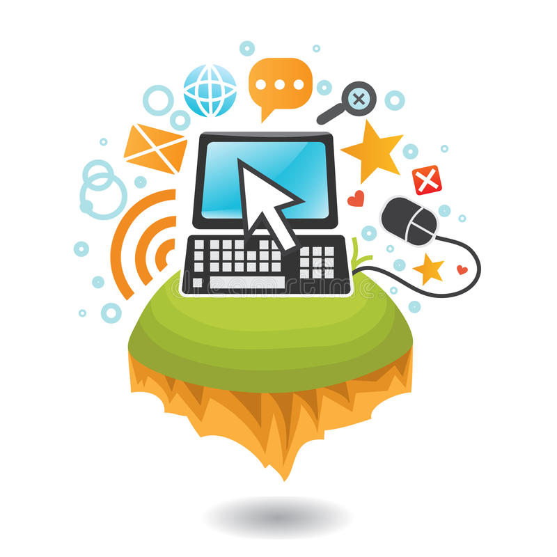 World of computers and internet. Computer on flying island with cursor and Internet icons royalty free illustration