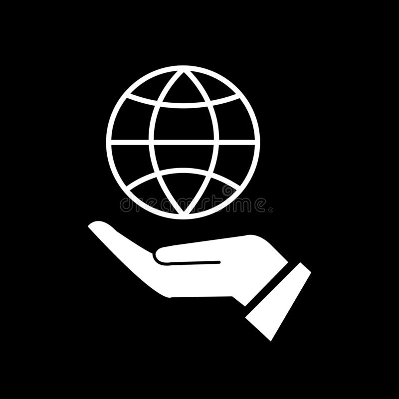 The world concept is on the left palm for web icons and symbols on a black background. And flat stock illustration