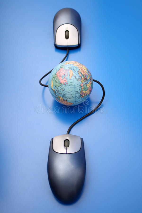 World connection. Photo of World connectivity on blue background stock photo