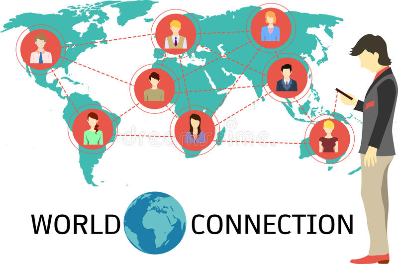 World connection via smartphone. Business man building his connections via smart phone which help him connect to his clients,alliances,colleagues,suppliers,co vector illustration