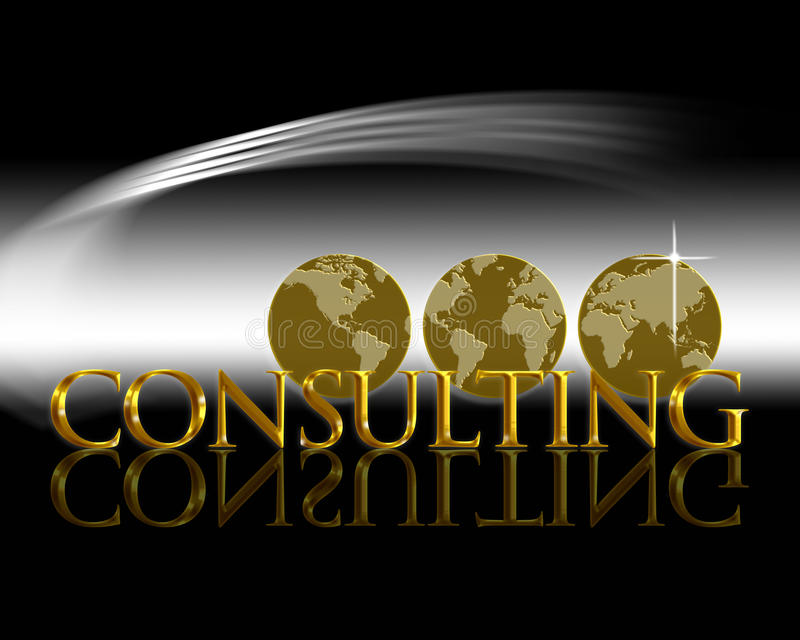World Consulting. An image for the concept of World Wide Consulting Service. Showing three areas of the globe on three different gold round shapes or coins. The