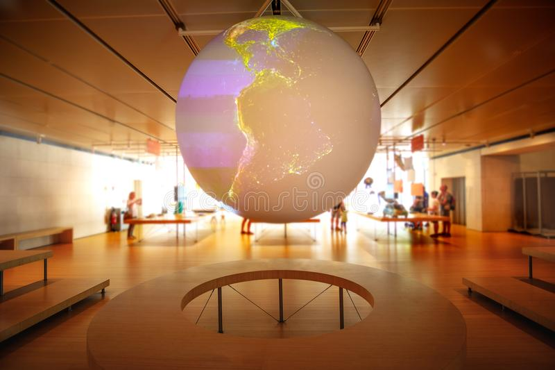 World control room globe hologram planet earth model royalty free stock photo