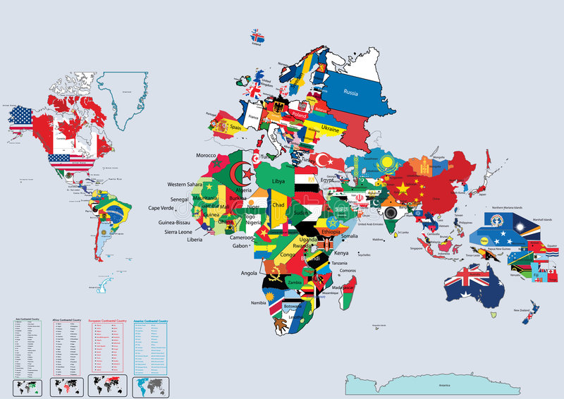 World country flags and map