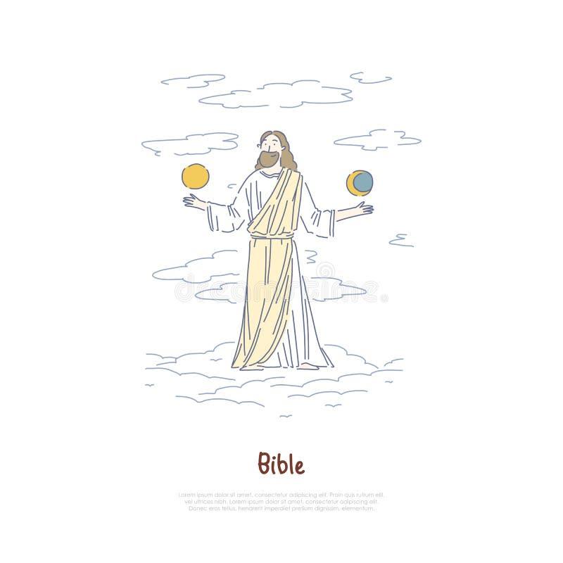 World creation myth, God holding sun and moon, legend and mythology book, religion and faith banner template royalty free illustration