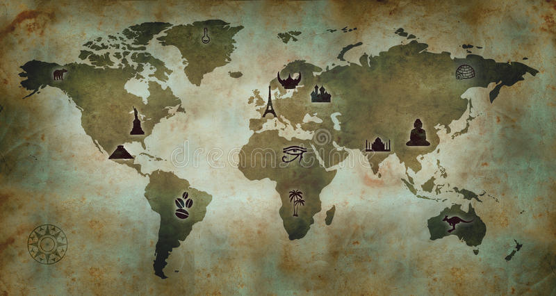 World Culture Map royalty free illustration