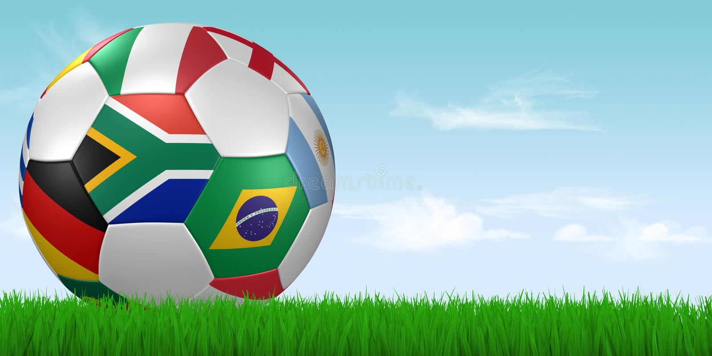 World cup 2010 soccer ball in grass stock photos
