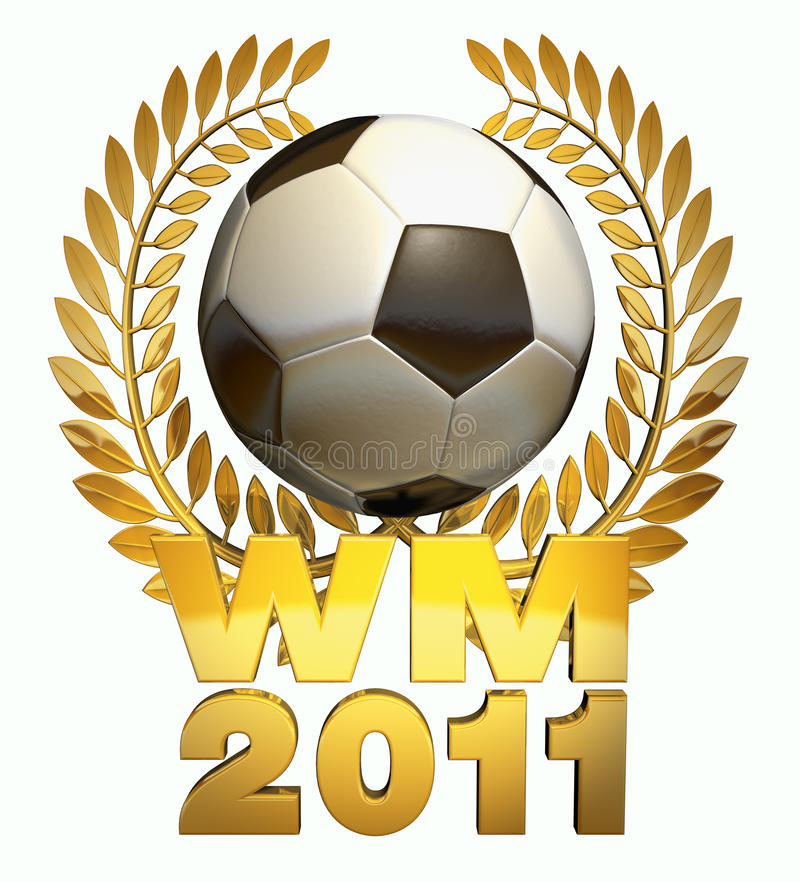World Cup 2011. Soccer ball in black and white in the middle of a golden laurel wreath with the caption WM 2011 stock illustration