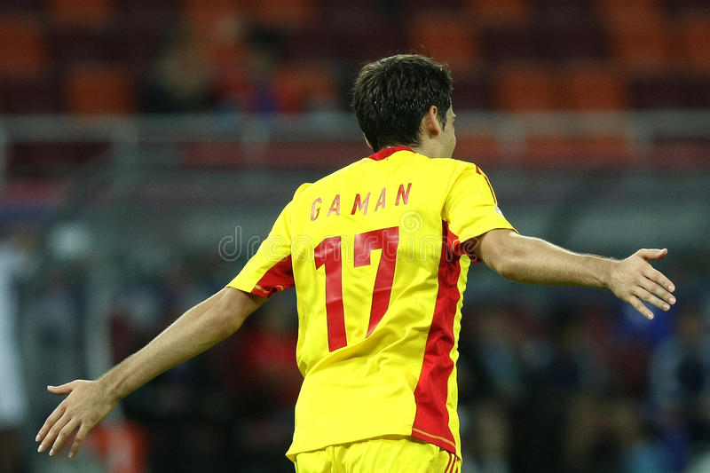 World Cup 2014 Preliminaries: Romania-Andorra. Marius Gaman cheering after scoring, during the football match, counting for the World Cup 2014 preliminaries royalty free stock photography