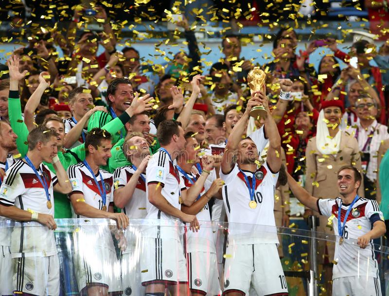 World Cup final game between Germany and Argentina at Maracana Stadium. RIO DE JANEIRO, BRAZIL -The World Cup Trophy during the celebrations after the 2014 World stock photography