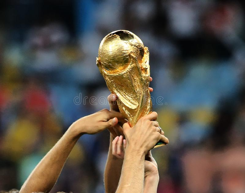 World Cup final game between Germany and Argentina at Maracana Stadium. RIO DE JANEIRO, BRAZIL -The World Cup Trophy during the celebrations after the 2014 World stock images