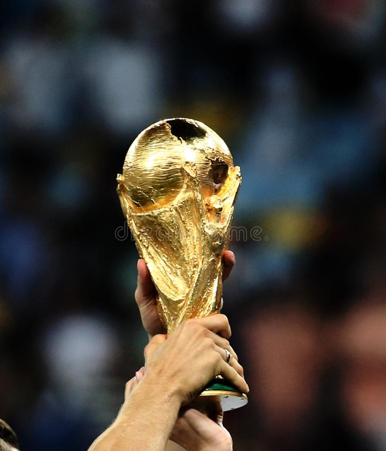 World Cup final game between Germany and Argentina at Maracana Stadium. RIO DE JANEIRO, BRAZIL -The World Cup Trophy during the celebrations after the 2014 World royalty free stock photo