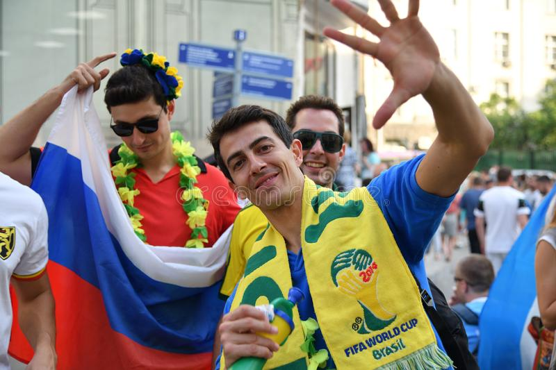 World Cup 2018, football fans on the streets of Moscow royalty free stock photos