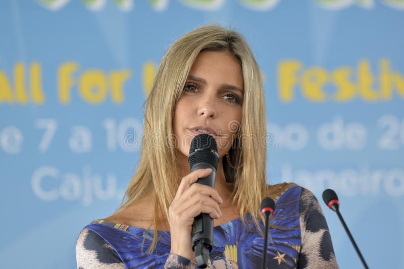 World Cup 2014. RIO DE JANEIRO, RJ /BRAZIL - MAY 20: Fernanda Lima officially launched the Football For Hope Festival 2014. The ceremony took place at the Mane stock photos