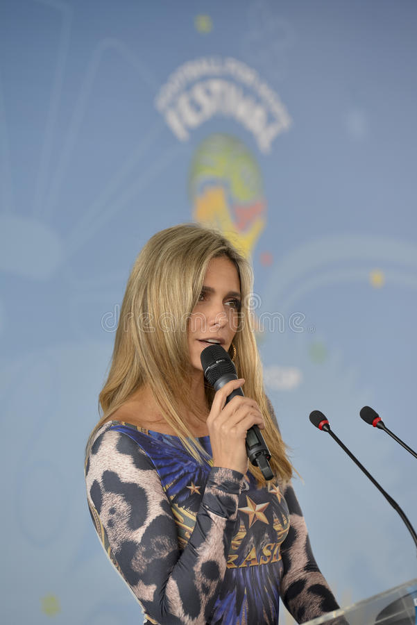 World Cup 2014. RIO DE JANEIRO, RJ /BRAZIL - MAY 20: Fernanda Lima officially launched the Football For Hope Festival 2014. The ceremony took place at the Mane royalty free stock photo