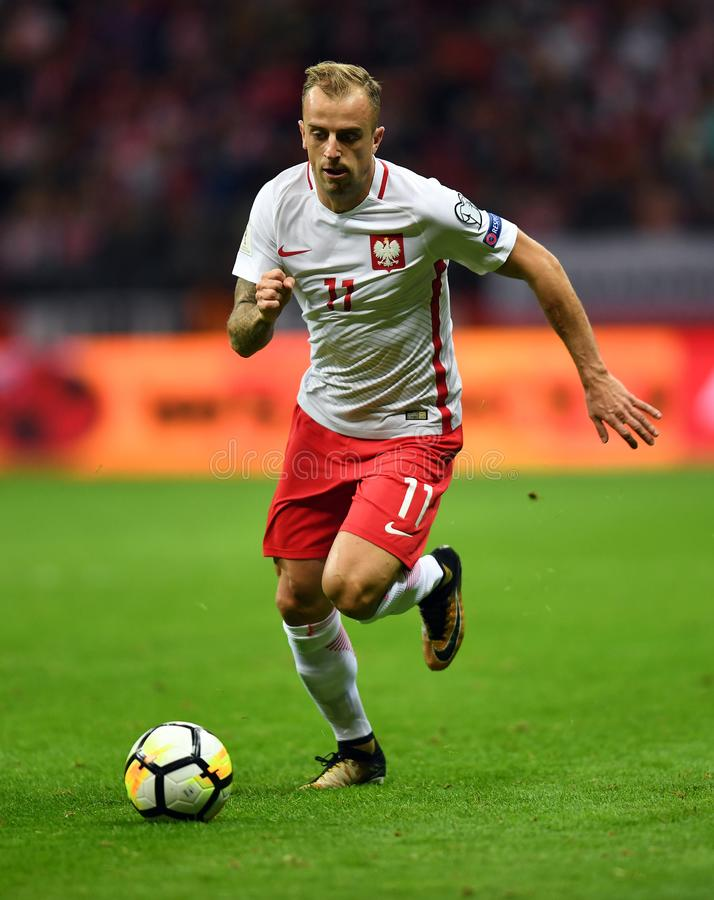 World Cup Rusia 2018 qualification match Poland - Kazakhstan. 4 SEPTEMBER, 2017 - WARSAW, POLAND: Football World Cup Rusia 2018 qualification match Poland stock image