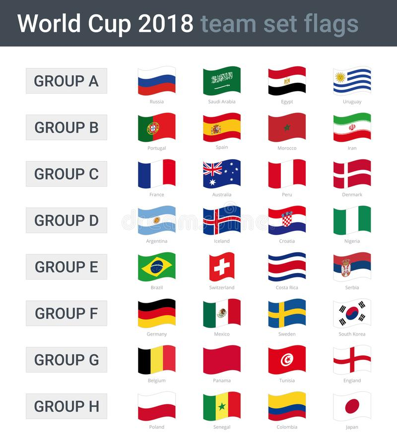 World cup 2018 team waving flags. Groups of championship cup 2018 in Russia vector illustration