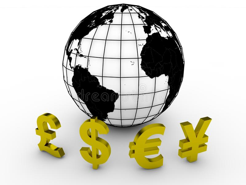 World currencies. Earth and global currencies. Computer render stock illustration