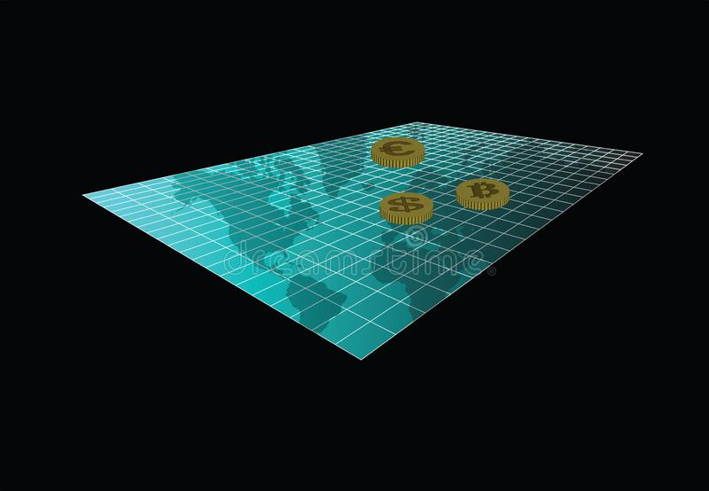 World Currencies. Bitcoin, Dollar and Euro - major currencies, on a grid with world map vector illustration