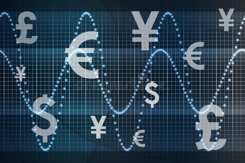 World Currencies Business Abstract Background. Futuristic World Currencies Business Abstract Background Wallpaper stock illustration