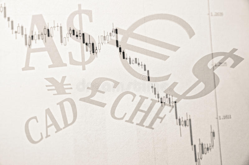 World currencies. Forex chart & world currencies sign stock image