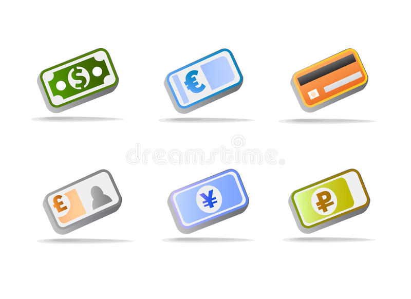 World currencies money icons stock photography