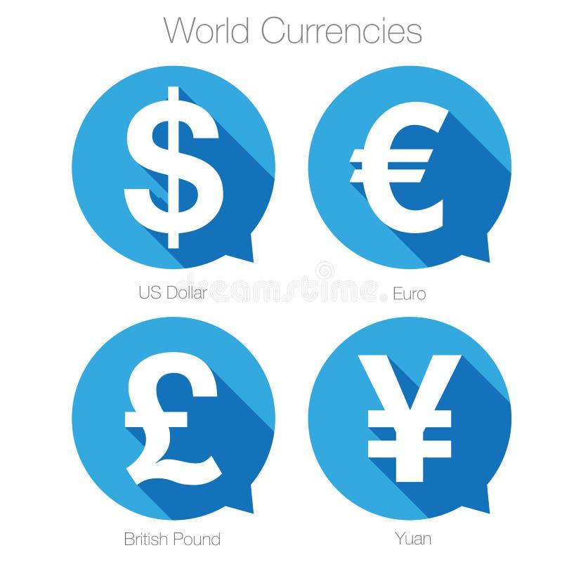 World currencies sign symbol set. Vector stock illustration
