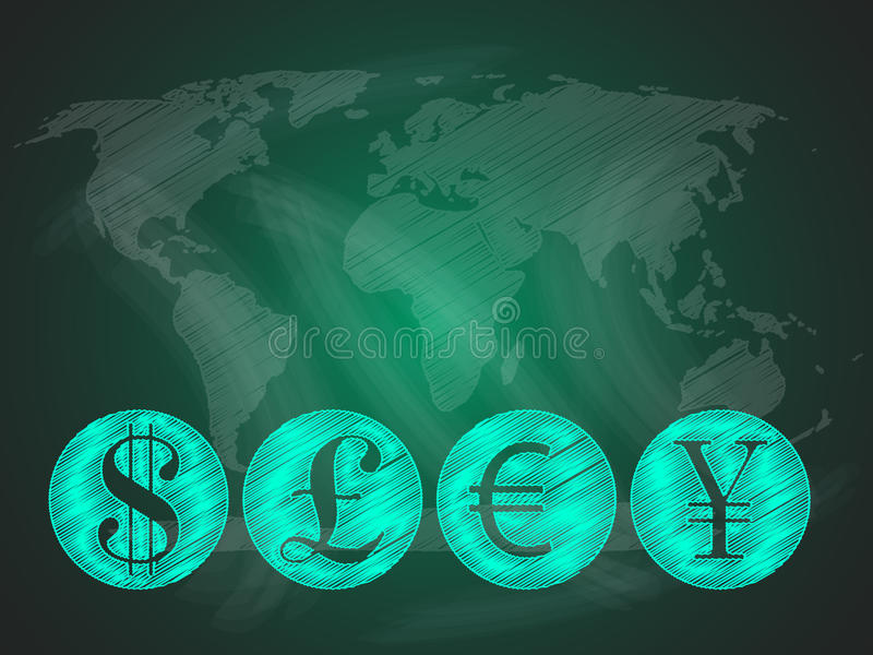 World currencies on world map. Abstract background with major global currencies on a green blackboard. Pound, Yen, Euro and US dollar vector illustration