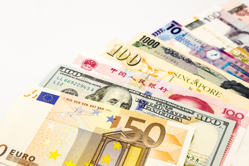 World currency banknotes stock image