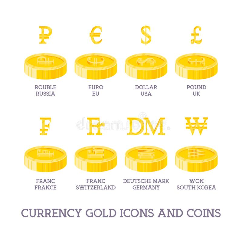 World currency signs and coins. Big set symbols of money and gold and silver icons - dollar, euro, yen, ruble, pound, bitcoin iso royalty free illustration