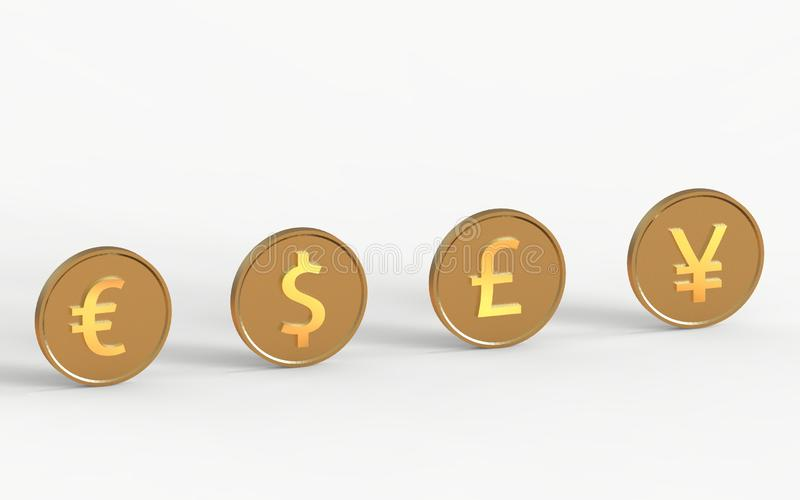 World currency signs isolated on a white background stock illustration