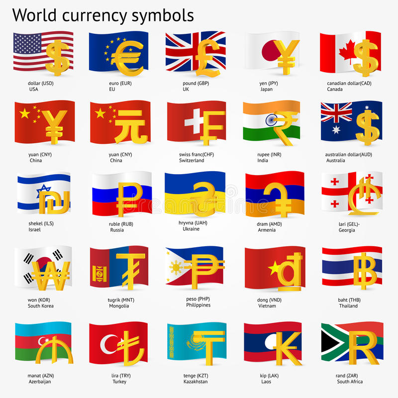 World currency symbols with flag icon set. Money sign icons with national flags. Vector illustration. royalty free illustration