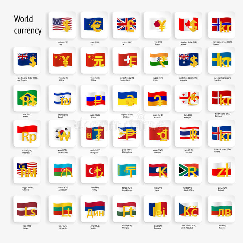 World Currency Symbols Icon Set With Country Flags Stock Vector