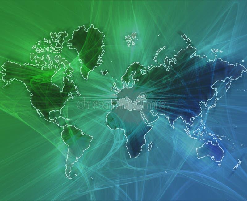World data transfer green. Data transfer over a map of the world green blue background vector illustration