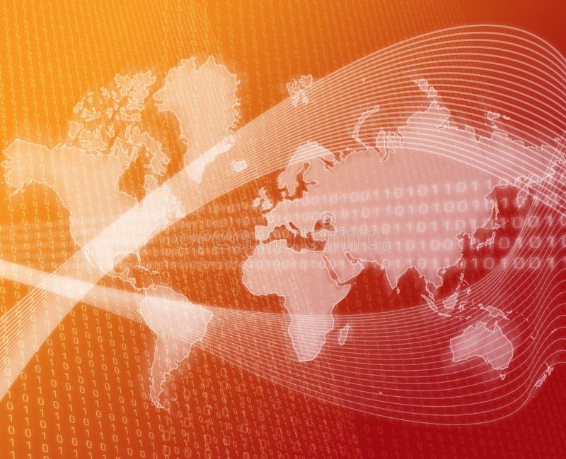 World data transfer orange vector illustration