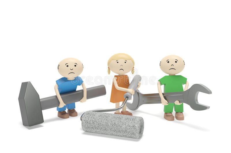 World Day Against Child Labour. Children with tools stock illustration