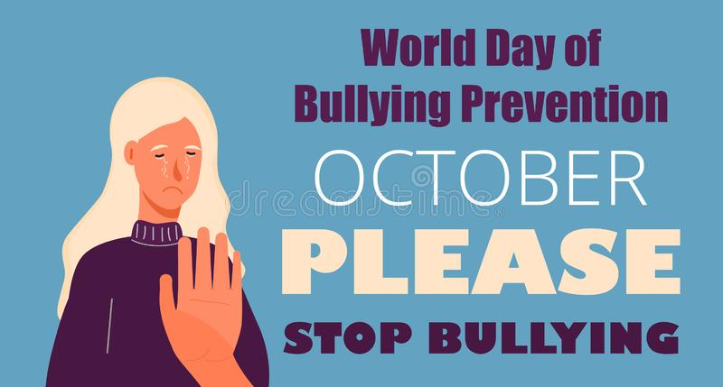World day of Bullying Prevention in October. Victim scene in society. Stressed person in shame. Cartoon concept vector of accusation in life, depression in royalty free illustration