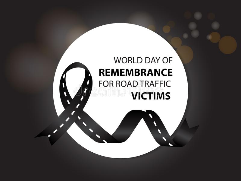 World day of remembrance for road traffic victims stock illustration