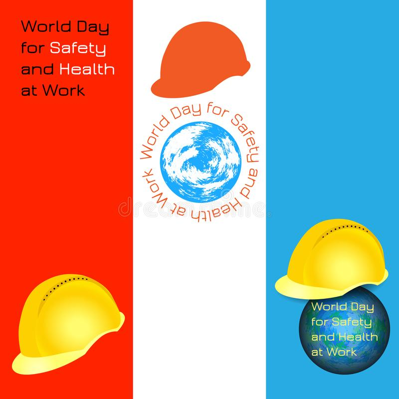 World Day for Safety and Health at Work. Bookmarks for event participants royalty free illustration