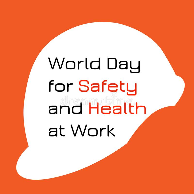 World Day for Safety and Health at Work. White protective helmet. vector illustration