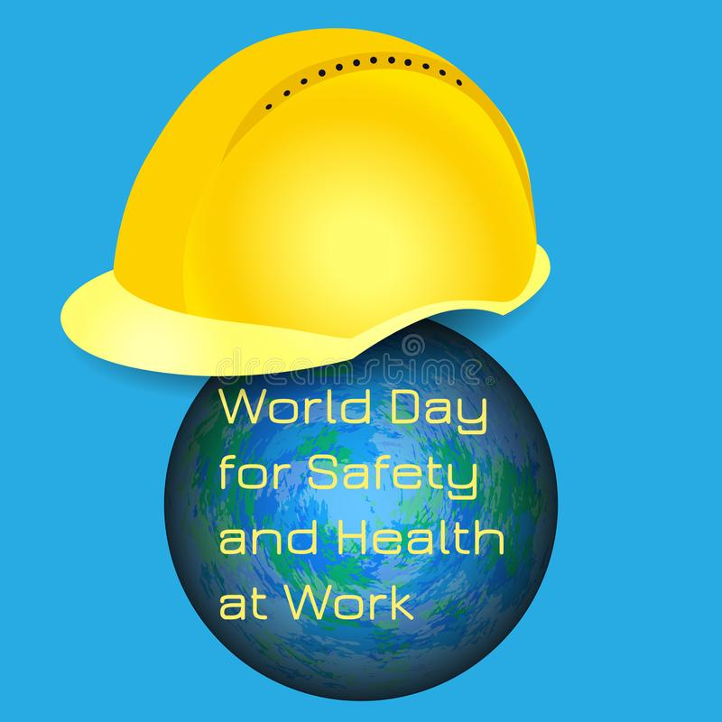 World Day for Safety and Health at Work. Earth and protective helmet vector illustration