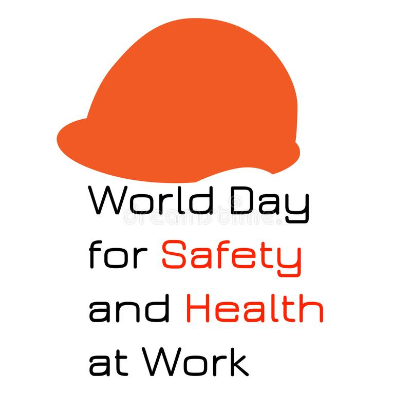 World Day for Safety and Health at Work. Red protective helmet. stock illustration