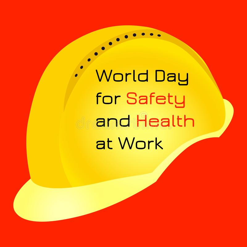 World Day for Safety and Health at Work. Yellow protective helmet. royalty free illustration